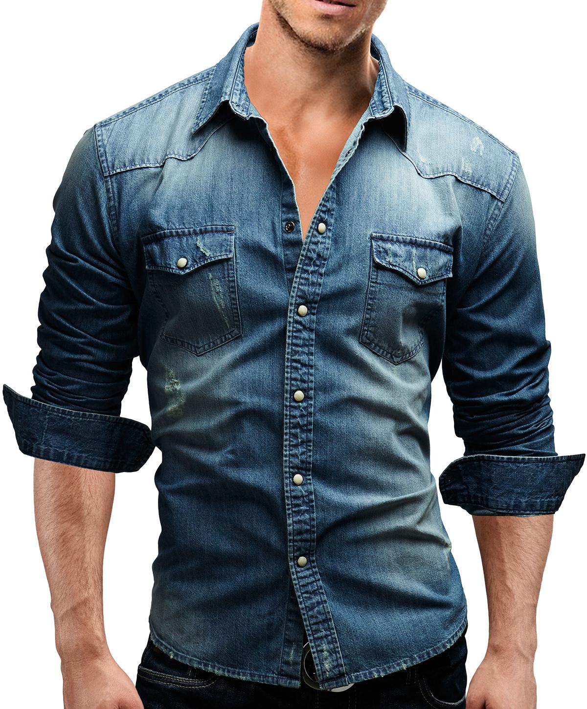 merish men 39 s shirt jeans denim slim fit style fitted. Black Bedroom Furniture Sets. Home Design Ideas