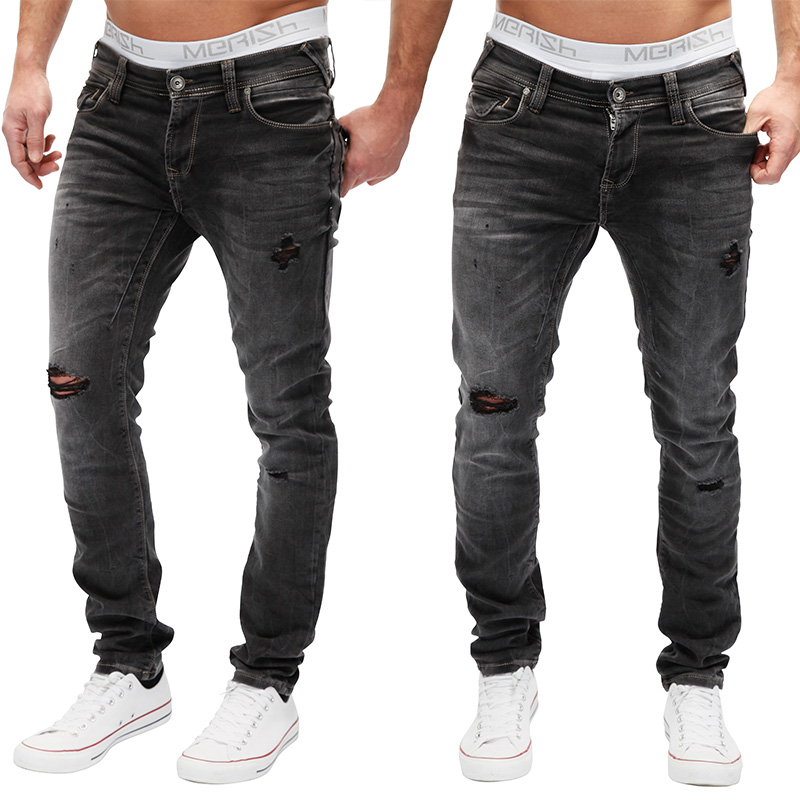 merish jeanshose herren clubwear destroyed look denim jeans hose neu j2048 ebay. Black Bedroom Furniture Sets. Home Design Ideas