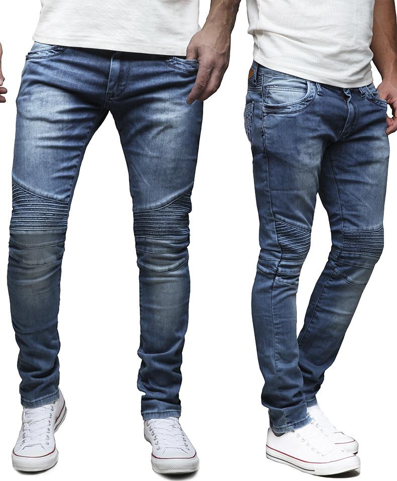 merish herren jeanshose slim fit chino jeans hose biker. Black Bedroom Furniture Sets. Home Design Ideas