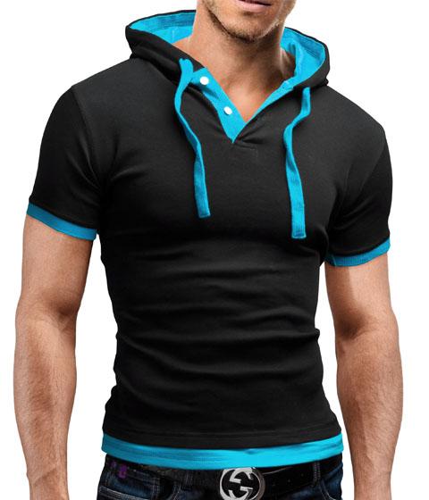Men 39 S Polo Shirt Slim Fit Hoodie Sweatshirt Form Fitting T