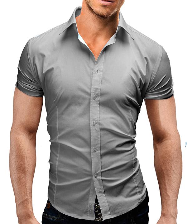 MERISH Herren Hemd Kurzarm Slim Fit Freizeit Basic Trend S-XXL T-Shirt Neu 77