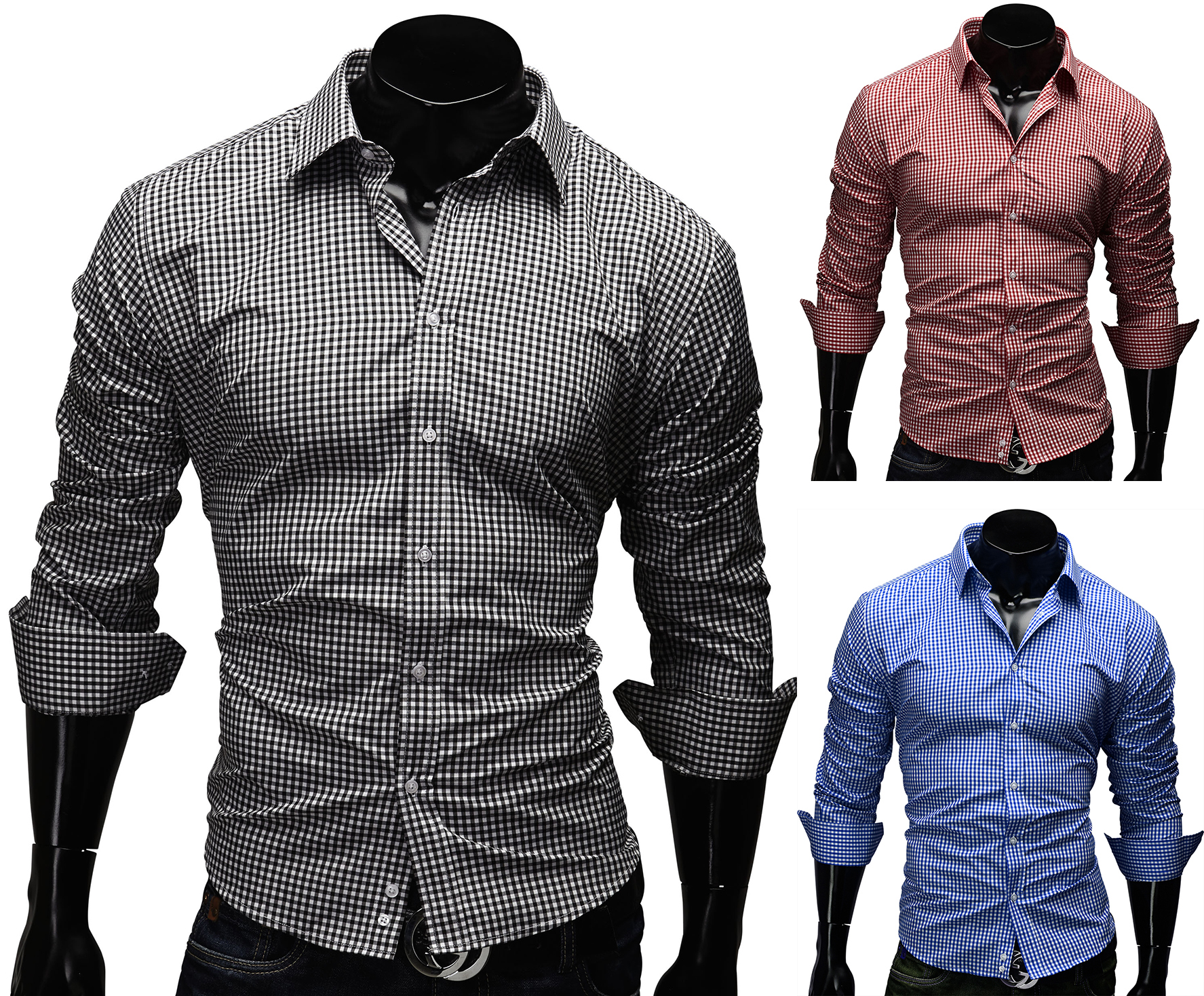 men 39 s shirt size s xxl slim fit trendy style checked t shirt polo 41. Black Bedroom Furniture Sets. Home Design Ideas