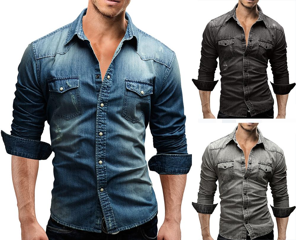eleery regular fit damen langarm denim bluse jeanshemd. Black Bedroom Furniture Sets. Home Design Ideas