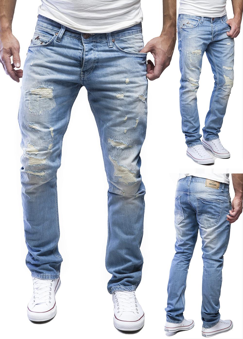 amica by merish herren straight fit destroyed blue jeans hose blau neu j1154 ebay. Black Bedroom Furniture Sets. Home Design Ideas